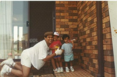 Dad with myself and Sanjay, 1993